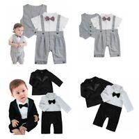 Baby Boys Gentleman Outfits Tuxedo Vest Party Romper Suit Set Wedding Birthday