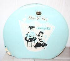 Vintage Deb-u-Teen Vinyl  Round Doll Case Suitcase Sewing Kit Rare