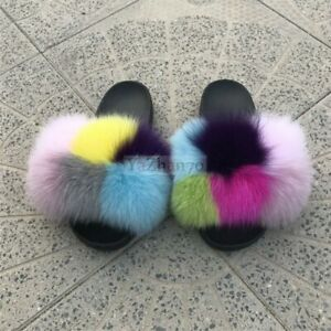 Multicolor Women Big Fluffy Real Fox Fur Flat Slipper Slides Lndoor Sandal Shoes