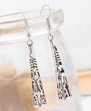 Long Column Tribal 925 Sterling Silver Plated Drop Dangle Earrings Jewelry