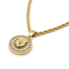 "Men 14k Gold Plated Hip Hop Mini Round Lion Iced Out Pendant 2mm 24"" Rope Chain"