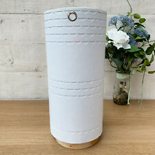 White Handmade Recycled Paper & Mahogany Wood Herb Plant Flower Vase Planter Pot