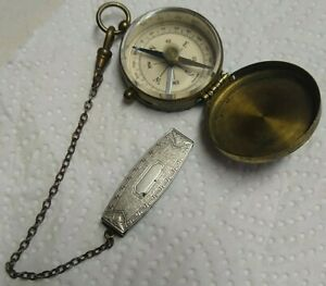 Vintage Pocket Compass Brass Case Germany