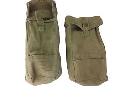 Pair MKIII Ammunition Pouch British 37 Pattern Khaki Cotton WWII Era GB Used