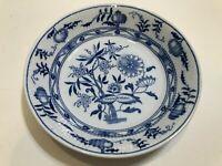 "Vintage England Blue Onion Handpainted Dish Bowl, 7 1/2"" Diameter x 1 1/2"" High"