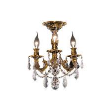 3 LIGHT SEMI FLUSH FRENCH GOLD ASFOUR CRYSTAL CHANDELIER BEDROOM HALLWAY KITCHEN