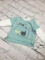 Baby Boy's T-Shirt George Long Sleeve Turquoise Crocodile Cotton 6-9 Months