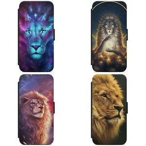 Art Wild Lion Colourful Animal WALLET FLIP PHONE CASE COVER FOR IPHONE SAMSUNG