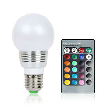 E27 3W RGB LED Magic Lamp 16 Multi Color Light Bulb + Wireless Remote Control US