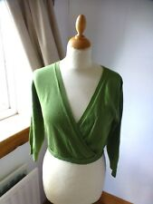 Moss green Cropped cross over front cropped jumper size - UK 14- 3/4 sleeve