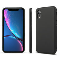 For iPhone XS Max XR X 8 7 6s Luxury Ultra Slim Soft TPU Bumper Case Cover Black