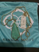 NWT Kendra Scott Carole Pendant Necklace Gold  Green MOP Mother of Pearl