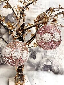 X1 Christmas Tree Decoration Hanging Blush Pink Glitter Baubles Ornament New