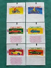RARE DANDY GUM WAX WRAPPERS-CARS & BIKES-SET OF SIX