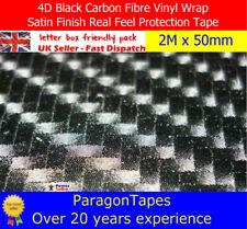 2M x 50mm 4D nero in fibra di carbonio vinile Nastro Telaio Bici Auto Pellicola Protezione JDM