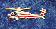 Empire Pewter Apache Helicopter Stars & Stripes Flag Pin