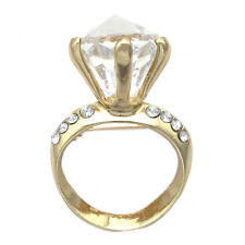 Bridal Shower Guest Gift Goldtone Engagement Ring Brooch Pin Wedding Anniversary