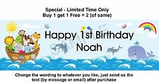 Any or 1st Birthday Baby Boy Party Paper Sign, Noahs Ark, Animals Dolphin Whale
