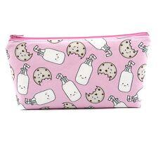 Cosmetic Bag, Zip Pouch, Makeup Bag, Pencil Case, Bag  - Pink Milk and Cookies