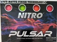 Nitro Pulsar Multi Color Golf Balls Soft Matte Finish Low Compression Pack of 12