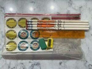 Vintage 1978 Meow Mix Cat Food School Promo Pencil Sticker Pouch Ruler Sharpener