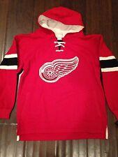 Detroit Red Wings Youth Medium Vintage Fleece Lace Up Hooded Sweatshirt NHL Kid