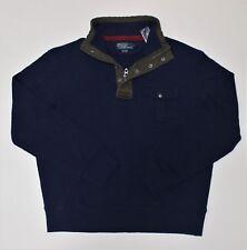 New $125 Ralph Lauren Blue Snap Half Zip Mockneck Pullover Shirt / Sweater / XL