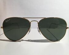 Ray Ban RB3025 58mm Original Aviator with Gold Frame & Polarized Green Lens