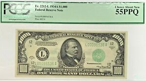 1934A $1000 Bill Federal Reserve Note San Francisco PCGS AU55 EPQ Fr2212-L