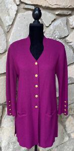 Vintage ESCADA Margaretha Ley Long Cardigan Sweater Size 34 Magenta Purple EUC