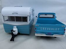 MotorMax & Greenlight 1/24 Scale 1966 Chevy C-10 & Shasta 15' Airflyte Trailer