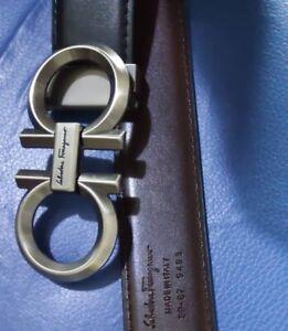 Ferragamo Belt Silver Buckle Belt Black Leather