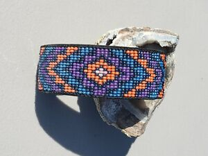 Colorful Southwest design Hand made on loom woven cuff bracelet