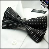 Black with White Polkadots Boy's Bow Tie Kids Junior