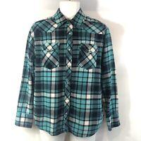 Cactus Men's M Flannel Shirt Blue & Black Plaid Western Authentic Workwear