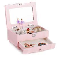 Pink High Gloss Wood Girls Musical Jewellery Trinkets Box Ballerina Xmas Gift 26