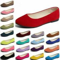 Womens Comfort Leisure Pumps Loafers Ladies Slip on Flats Pointed toe Boat Shoes