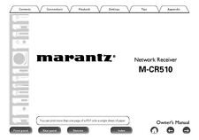 Marantz M-CR510 Network Receiver Owners Instruction Manual