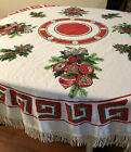 """Vintage Round Christmas Tablecloth With Fringe Holly Ornaments Bell's 64"""""""