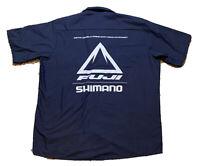 FUJI / SHIMANO DK Blue Red Kap Button-Down Mechanic Shirt Men's Size XLarge