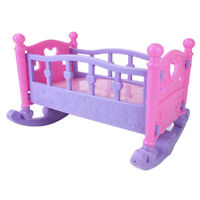 Baby Doll Rocking Bed Toy Crib Infant Carriage Gift For Pretend Role Play