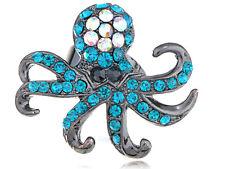 Capri Blue Crystal Rhinestone Gun Metal Base Custom Fashion Octopus Charm Rings