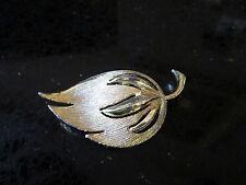 "Brooch 2 1/4"" wide Nice Quality Vintage Textured Metal Large Gold Leaf Pin"