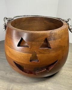 Martha Stewart Home Wood Carved Pumpkin Silver Handle Large Seasonal Decor NWT!