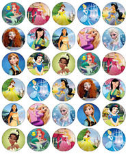 Disney Princess x 30 Cupcake Toppers Edible Wafer Paper Fairy Cake Toppers
