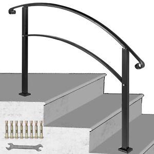 VEVOR 3FT Angle Adjustable Iron Handrail Black Fit 2 or 3 Steps Handrail Brick
