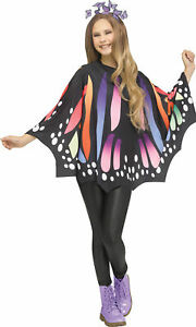 Rainbow Monarch Butterfly Poncho Adult Womens Costume Accessory NEW One Size