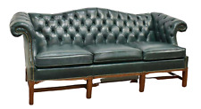 Sofa, Leather, Fairfield Chippendale Style Tufted, Green, Brass Tacks, Gorgeous