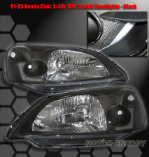 FOR 01 02 03 HONDA CIVIC CRYSTAL HEADLIGHTS LAMPS BLACK COUPE SEDAN 2DR/4DR PAIR