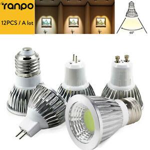 12PCS Dimmable GU10 LED Spotlight MR16 GU5.3 E27 E12 B22 6W 9W 12W COB Lamps RML